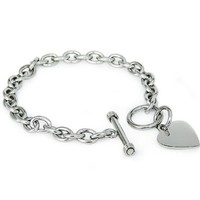 Crazy2Shop Stainless Steel Trendy Cable Chain Bracelet with Heart Charm and Toggle Clasp Closure, High Polished Finished, 7.5""