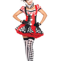 Black Red 3 PC Harlequin Clown Costume