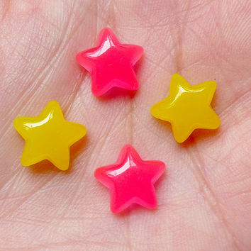 Star Candy Cabochons (4pcs / 11mm) Kawaii Miniature Sweets Dollhouse Candy Kitsch Jewelry Cell Phone Deco Decoden Earrings Making FCAB211