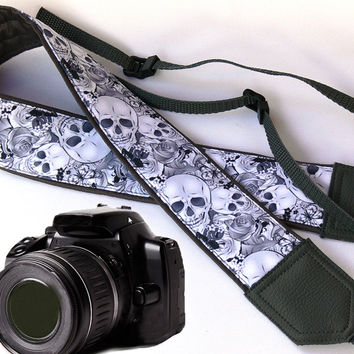 Original design Camera Strap. Sugar Skulls Camera Strap. DSLR / SLR Camera Strap.  For Sony, canon, nikon, panasonic, fuji and other cameras.