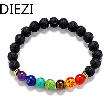 DIEZI New Design Mens Bracelets Black Lava 7 Chakra Healing Balance Beads Bracelet For Men Women Rhinestone Reiki Prayer Stones