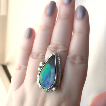 Ammolite ring, Statement Ammolite ring, silver gemstone ring, Ammonite fossil ring