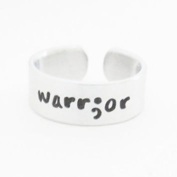 Semicolon warrior ring jewelry - suicide depression awareness survivor fighter ring
