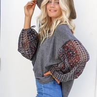 Natural Bliss Charcoal Top With Gypsy Sleeves