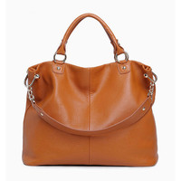 Minimal Chic Brown Large Leather Tote. Genuine Leather Handbag. Shopper Bag. MADE-TO-ORDER