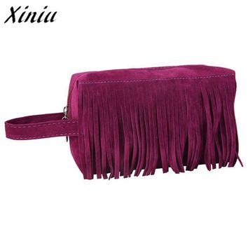 Xiniu Fashion Organizador Fleece Fabric Tassel Handbag Cosmetic Bag Cosmetics Bag Makeup Pouch/Bag Necessaire A0711
