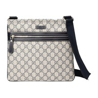 Gucci Supreme Canvas and Leather Navy Blue Crossbody Messenger Bag 295257