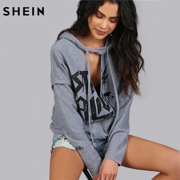 SHEIN Women Hoodies Sweatshirts Printed Distressed Cut Out Edgy Hoodie Autumn Grey V Neck Long Sleeve Sexy Pullovers
