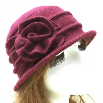 ed6abafd5ccf96 New Arrival Elegant Vintage Style Women Wool Church Cloche Flapp