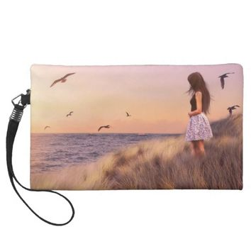 Girl at the Beach Wristlet Purses