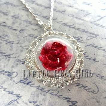 Enchanted Red Rose Necklace - Beauty and the Beast Rose Jewelry Silver Wedding Bridal Fairy Tale Jewelry - Once Upon a Time Glass Jewelry