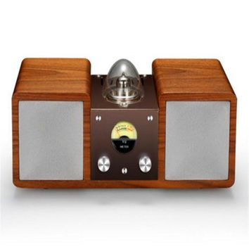 classic 10mm solid wood tube amplifier speaker 30w output  retro design art of music hifi surround support bluetooth and aux inp