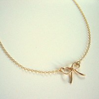 Gold Bow Necklace, Gold Ribbon Necklace | Luulla