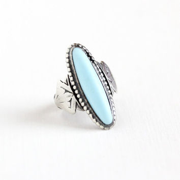 Vintage Sterling Silver Simulated Turquoise Ring - Size 3 3/4 Art Deco 1940s Sky Blue Oval Glass Cabochon Stone Statement Geometric Jewelry