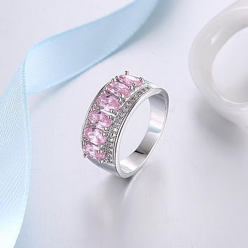 Pink Sapphire Six Stone Oval Cut White Gold Ring 925 Sterling Silver Unique Casual Rings