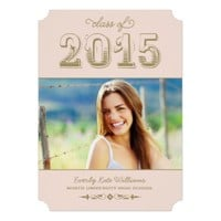 "Photo Graduation Party Invites | Blush + Antique 5"" X 7"" Invitation Card"