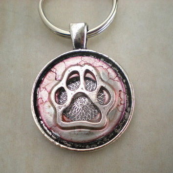 Paw Print Keychain: Rose Pink - Dog Paw - Wolf Paw - Unique Keychain - Dog Lover - Animal Lover - Spring Colors