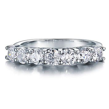 A Flawless 2.75TCW Round Cut Belgium Lab Diamond Half Eternity Ring