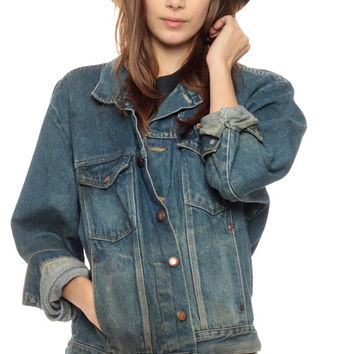 80s Denim Jacket Distressed Grunge Jean Jacket Faded Dark 1980s Vintage Classic Button Up Hipster Men Women Coat Biker Tiny Fit Small Medium