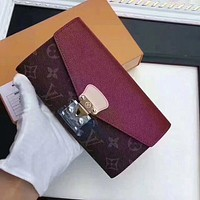 One-nice™ Louis Vuitton Women Leather Multicolor Wallet Purse
