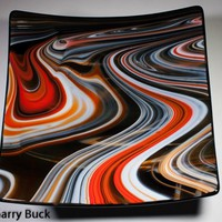 Rings of Saturn, 10 inch square fused glass bowl