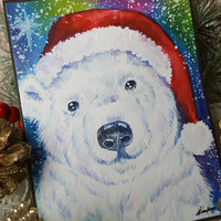 OOAK, Watercolor Card Christmas Card, NOT A PRINT,  Original Handpainted, Bear, Greeting Card, Polar Bear Watercolor, Seasonal, snow,