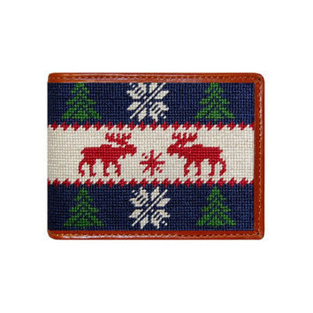 Christmas Sweater Needlepoint Wallet in Navy by Smathers & Branson