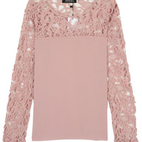 Pink Crochet Lace Panel Long Sleeve Blouse