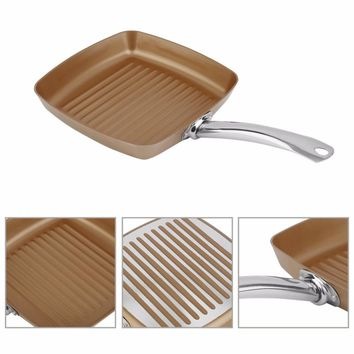 "Copper Bottom Coating Non-Stick Surface 10.5"" Square Grill Pan Ti-Cerama Safe Oven Cookware Kitchen Tool Drop Shipping"