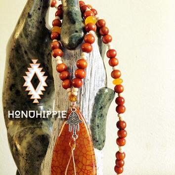 Boho Mala necklace, yoga hippie jewelry hamsa hand