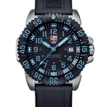 Luminox Mens Steel Colormark - Black Blue Dial - Black Rubber Strap - Retired