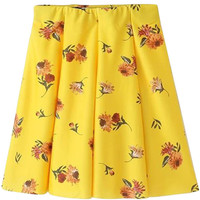 Yellow Floral A-Line Pleated Mini Skirt