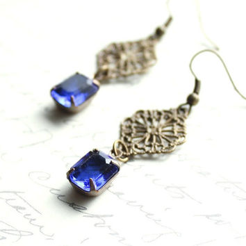 Sapphire Earrings, Vintage Glass, Antique Brass Filigree, Old Hollywood, Lace, French Romantic, Navy Blue, Cobalt, Indigo
