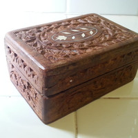 Carved wood box, hinged trinket mens jewelry box, bohemian vintage wood storage, FREE US Shipping