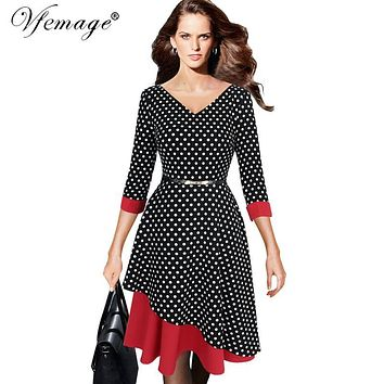Vfemage Womens Asymmetric Hem V-neck Vintage Polka Dot Contrast 3/4 Sleeves Work Casual Party Fit and Flare A-line Dress 4913