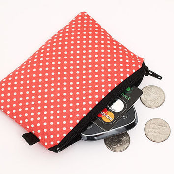 Coin purse, small zipper pouch, cute little padded change purse - coral red and white polka dots