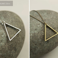 Minimal Steel Triangle Necklace //  BALANCE 25s Triangle Necklace //  Unisex Men's Necklace //  Simple Geometric Necklace
