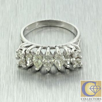 Vintage Estate 14k Solid White Gold 1.65ct Marquise Round Diamond Band Ring