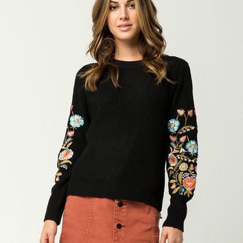 WOVEN HEART Embroidered Floral Womens Sweater