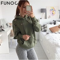 SALE Autumn Winter Women Hoodie Sweatshirt Vintage Strip Long Sleeve Hollow Out Street Punk Tracksuit Hooded Pullovers Tops