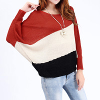 A 081912 u Stitching bat sleeve loose casual long-sleeved sweater