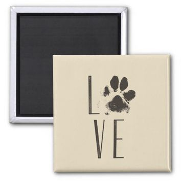 Love with Pet Paw Print Brown Grunge Typography Magnet