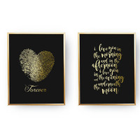 "Set Of 2 Prints, I Love You In The Morning, Bedroom Poster, Real Gold Foil Print, Fingerprint Heart ""Forever"", Typography Art, Home Decor"