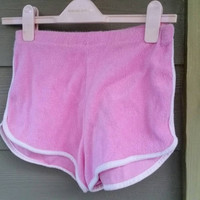 Vintage Bubble Gum Pink 70s 80s High Waisted Roller Girl Terry Cloth Short Shorts Running Shorts Size Small