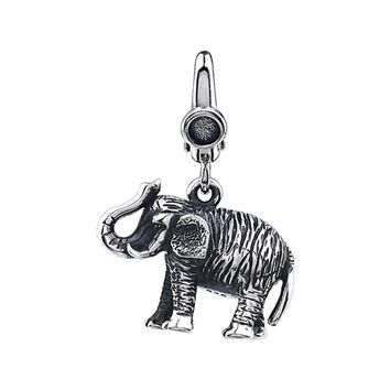 Sterling Silver, Antiqued 3D Elephant Clip-On Bead Charm