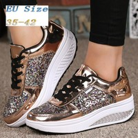 (EUR 35~42) Women Sneakers Sequins Shake Shoes Fashion Girl Sport Shoes Fitness Shoes(Color:Gold,White,Silver,Black)