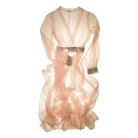 Sheer Romance Dressing Gown Robe in Peach | Couture Silk Lace Nightwear | Specimens of Seduction by Layla L'obatti