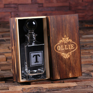 Personalized Whiskey Decanter with Global Bottle Lid and Wood Box – F