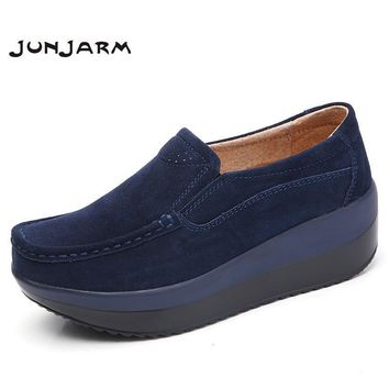 JUNJARM 2017 Women Flats Platform Loafers Shoes Ladies Suede Leather Hollow Casual Sho