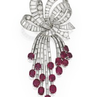 Platinum, 14 Karat White Gold, Ruby and Diamond Brooch, Van Cleef & Arpels | lot | Sotheby's